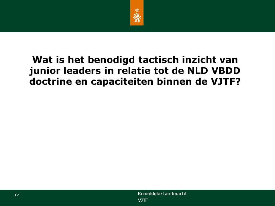 Koninklijke Landmacht 17 VJTF Wat is het benodigd tactisch inzicht van junior leaders in relatie tot de NLD VBDD doctrine en capaciteiten binnen de VJTF