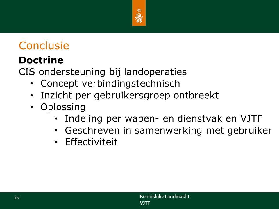 Koninklijke Landmacht 19 VJTF Conclusie Doctrine CIS ondersteuning bij landoperaties Concept verbindingstechnisch Inzicht per gebruikersgroep ontbreek