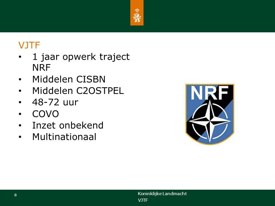 Koninklijke Landmacht 8 VJTF 1 jaar opwerk traject NRF Middelen CISBN Middelen C2OSTPEL 48-72 uur COVO Inzet onbekend Multinationaal