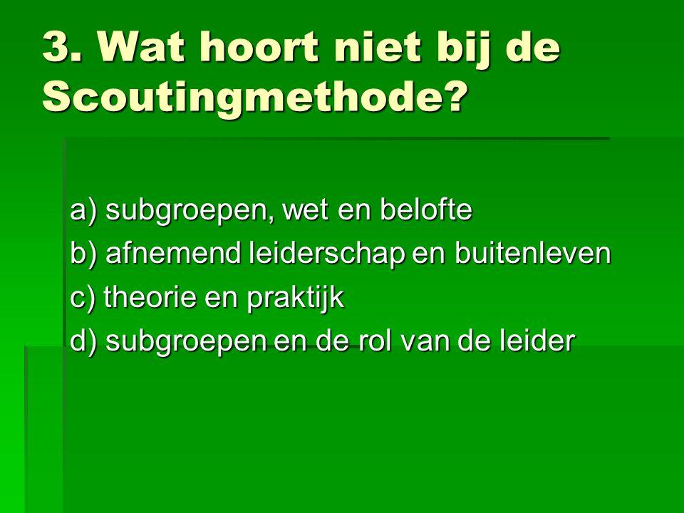 3. Wat hoort niet bij de Scoutingmethode.