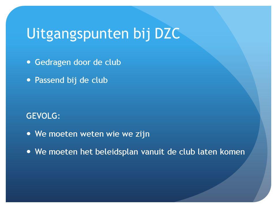 Uitgangspunten bij DZC Gedragen door de club Passend bij de club GEVOLG: We moeten weten wie we zijn We moeten het beleidsplan vanuit de club laten komen