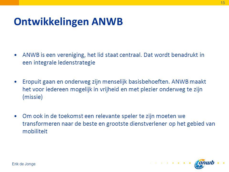 Erik de Jonge Ontwikkelingen ANWB ANWB is een vereniging, het lid staat centraal. Dat wordt benadrukt in een integrale ledenstrategie Eropuit gaan en