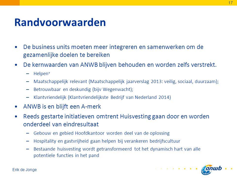 Erik de Jonge Randvoorwaarden De business units moeten meer integreren en samenwerken om de gezamenlijke doelen te bereiken De kernwaarden van ANWB blijven behouden en worden zelfs verstrekt.