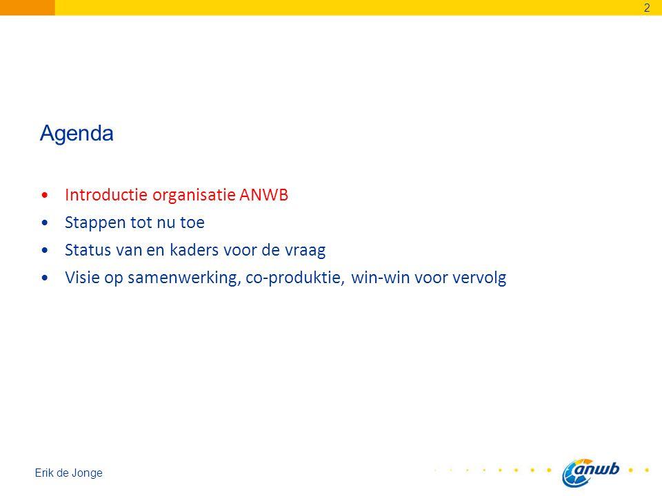 Agenda Introductie organisatie ANWB Stappen tot nu toe Status van en kaders voor de vraag Visie op samenwerking, co-produktie, win-win voor vervolg 2