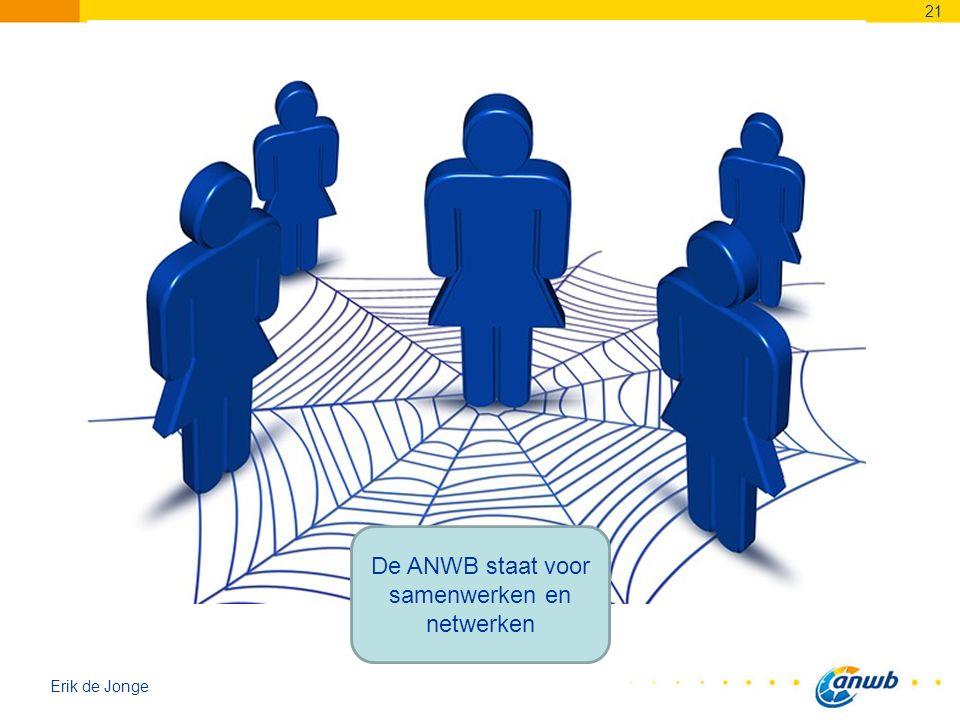 Erik de Jonge 21 De ANWB staat voor samenwerken en netwerken