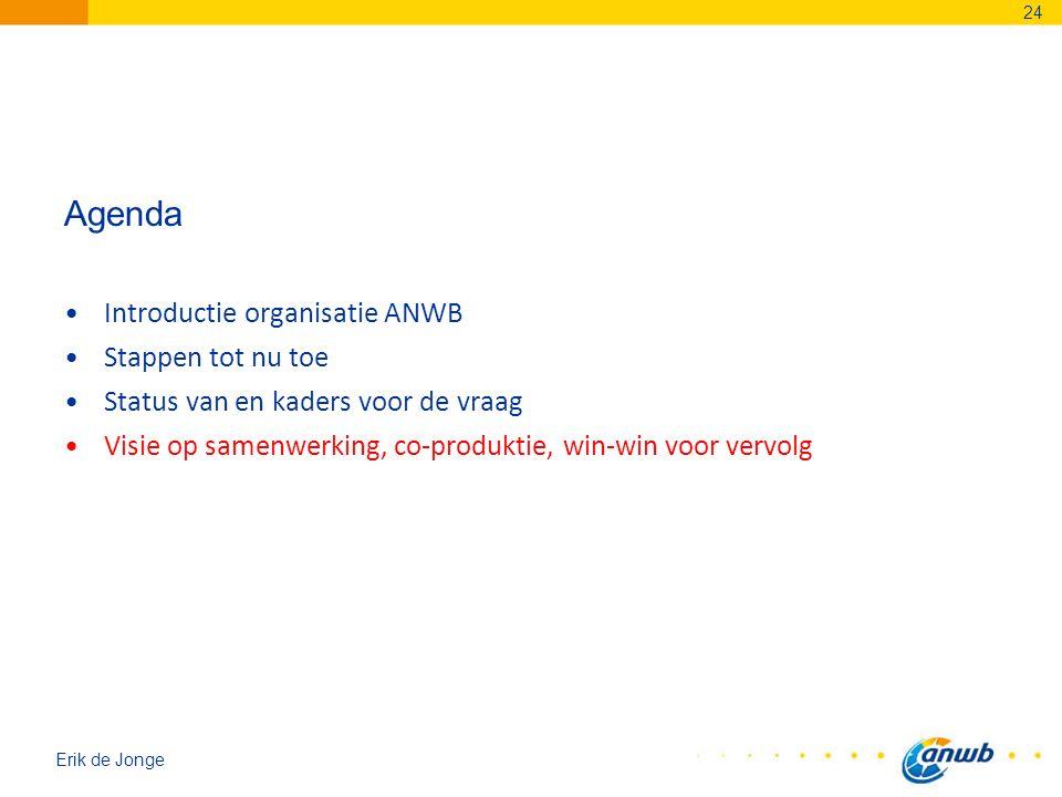 Erik de Jonge Agenda Introductie organisatie ANWB Stappen tot nu toe Status van en kaders voor de vraag Visie op samenwerking, co-produktie, win-win v