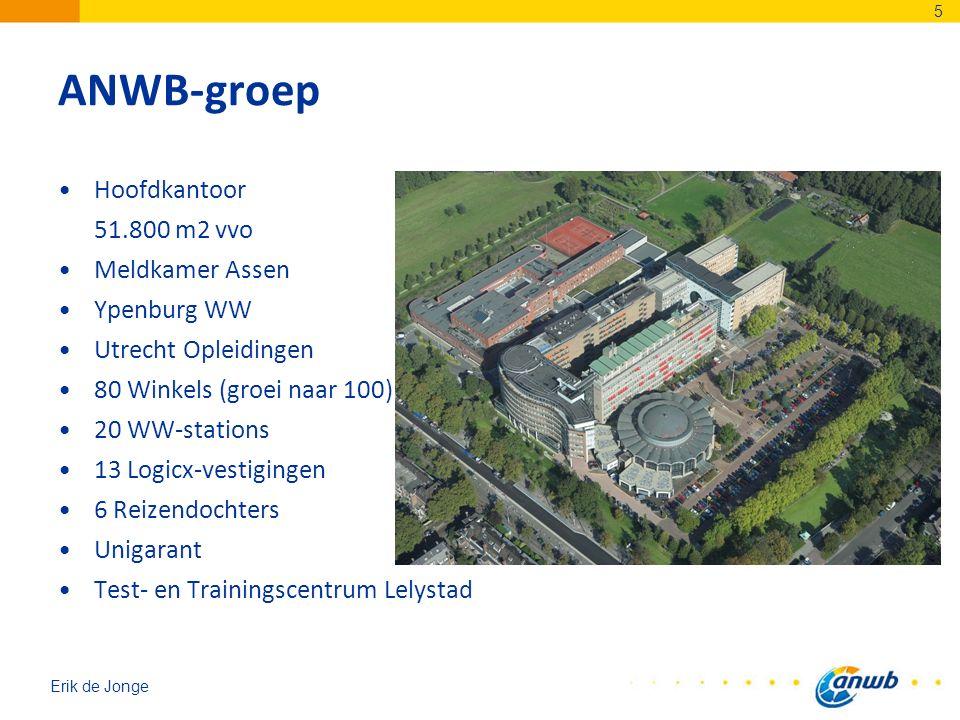 Erik de Jonge ANWB-groep Hoofdkantoor 51.800 m2 vvo Meldkamer Assen Ypenburg WW Utrecht Opleidingen 80 Winkels (groei naar 100) 20 WW-stations 13 Logi