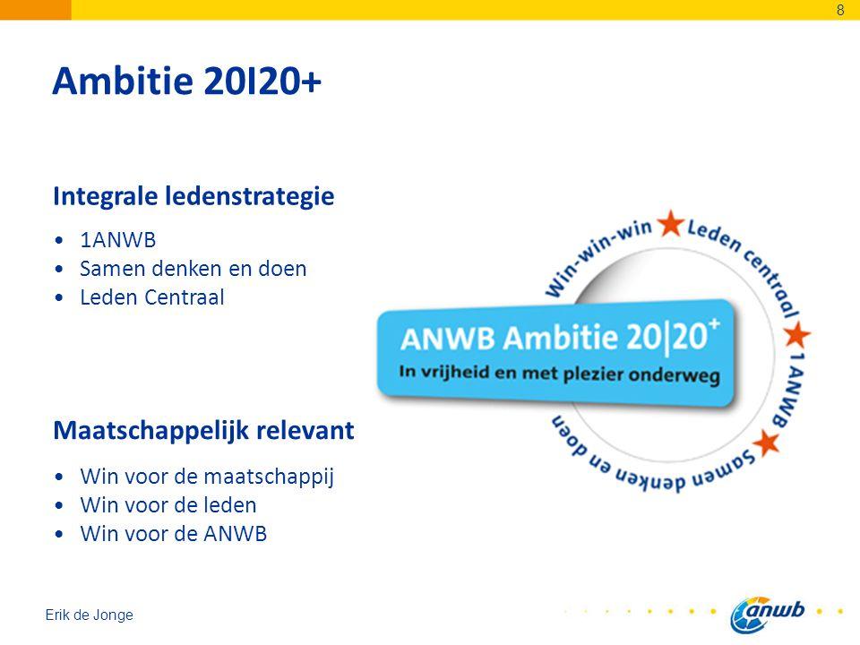 Erik de Jonge Ambitie 20I20+ 8 1ANWB Samen denken en doen Leden Centraal Integrale ledenstrategie Win voor de maatschappij Win voor de leden Win voor de ANWB Maatschappelijk relevant