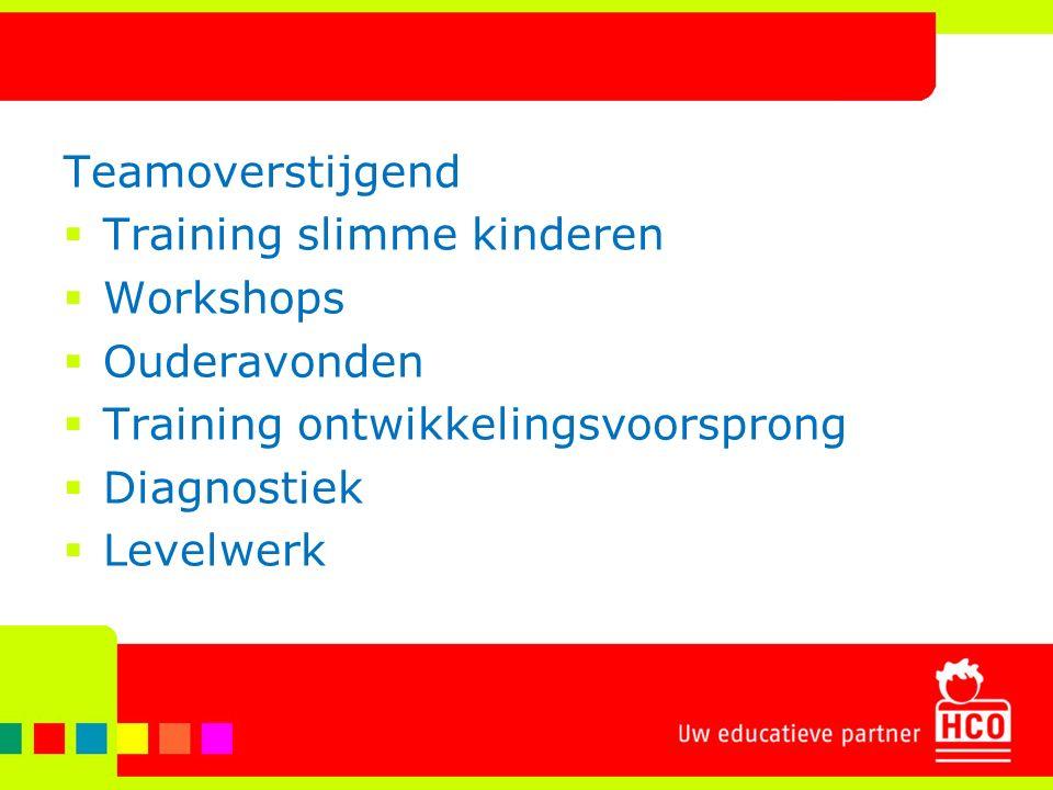 Teamoverstijgend  Training slimme kinderen  Workshops  Ouderavonden  Training ontwikkelingsvoorsprong  Diagnostiek  Levelwerk