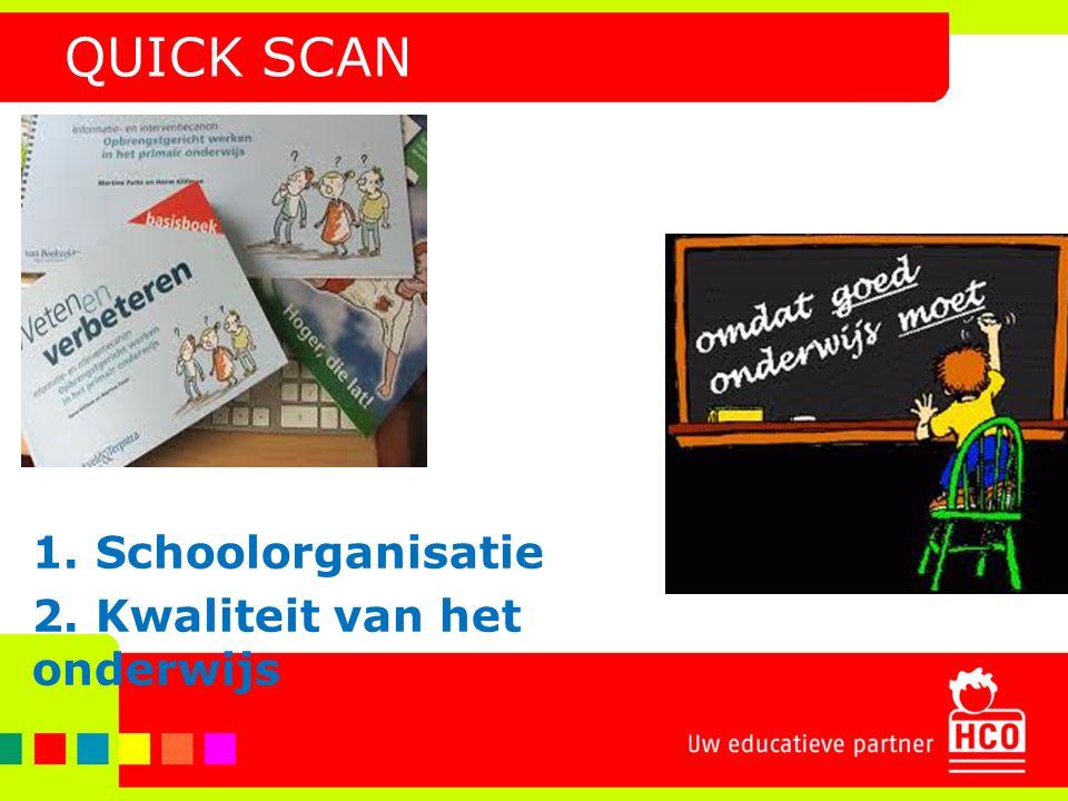 QUICK SCAN 1. Schoolorganisatie 2. Kwaliteit van het onderwijs