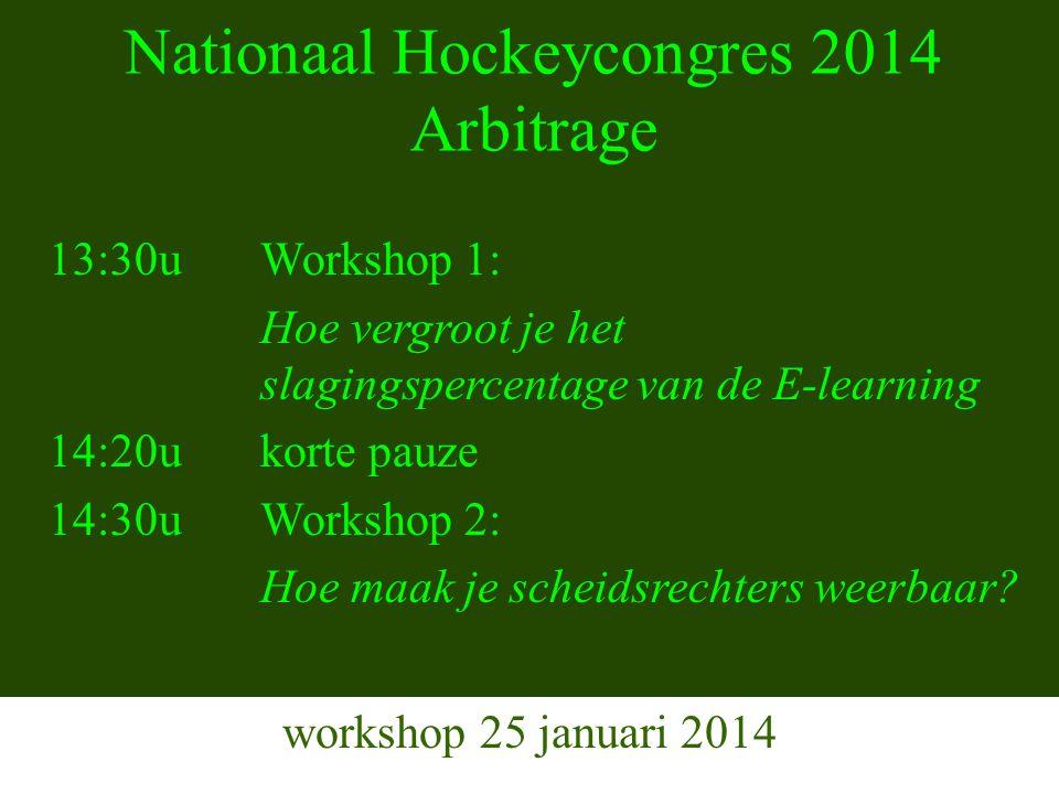 Nationaal Hockeycongres 2014 Arbitrage workshop 25 januari 2014 13:30uWorkshop 1: Hoe vergroot je het slagingspercentage van de E-learning 14:20ukorte pauze 14:30u Workshop 2: Hoe maak je scheidsrechters weerbaar