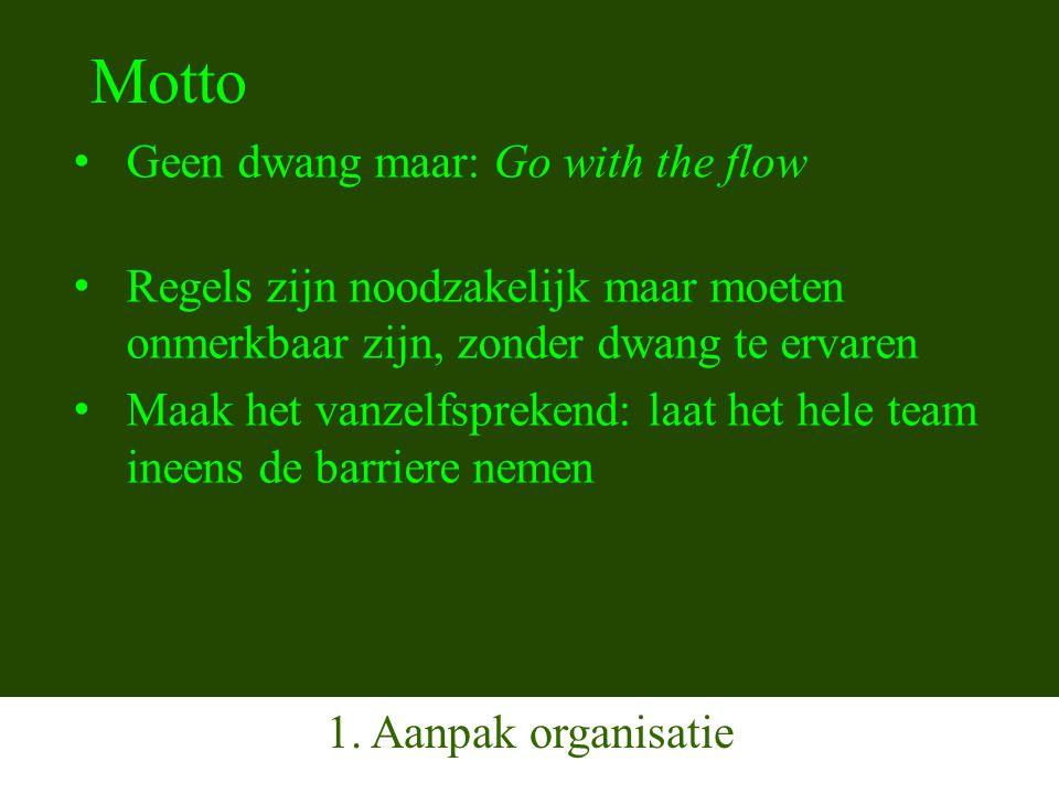 Motto Geen dwang maar: Go with the flow Regels zijn noodzakelijk maar moeten onmerkbaar zijn, zonder dwang te ervaren Maak het vanzelfsprekend: laat het hele team ineens de barriere nemen 1.