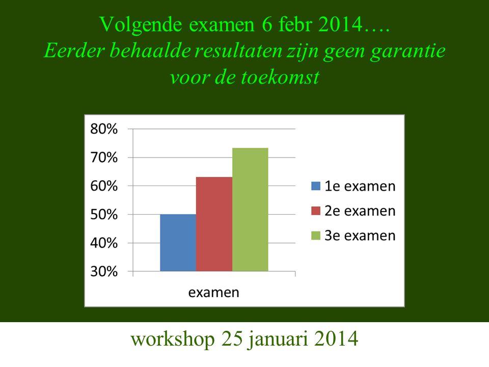 Volgende examen 6 febr 2014….