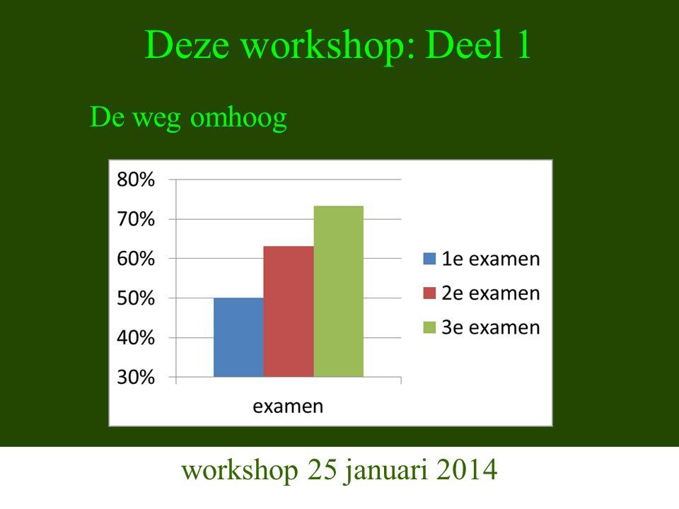 Indeling Workshop 1 workshop 25 januari 2014 1.Aanpak van de opleiding, organisatie (Jan-Jaap) 2.Resultaten E-learning 3.Ervaring instructieavonden (Arja en Rob) 4.Vragen?