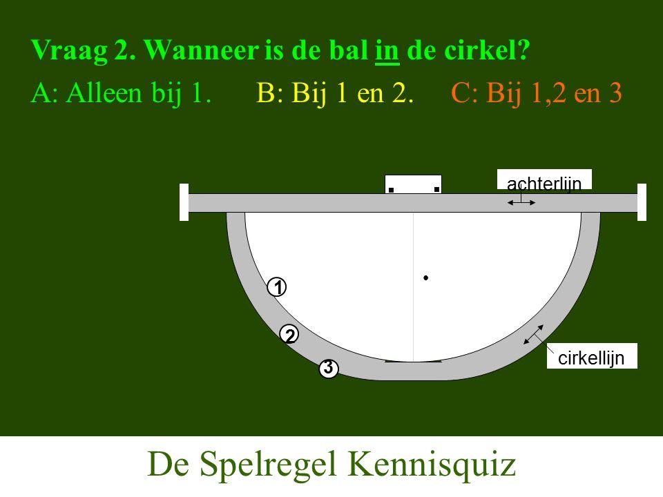 De Spelregel Kennisquiz Vraag 2. Wanneer is de bal in de cirkel.