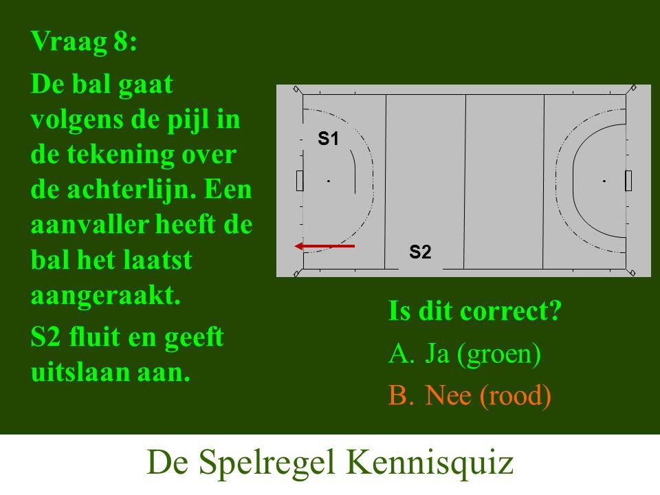 De Spelregel Kennisquiz Vraag 8: De bal gaat volgens de pijl in de tekening over de achterlijn.