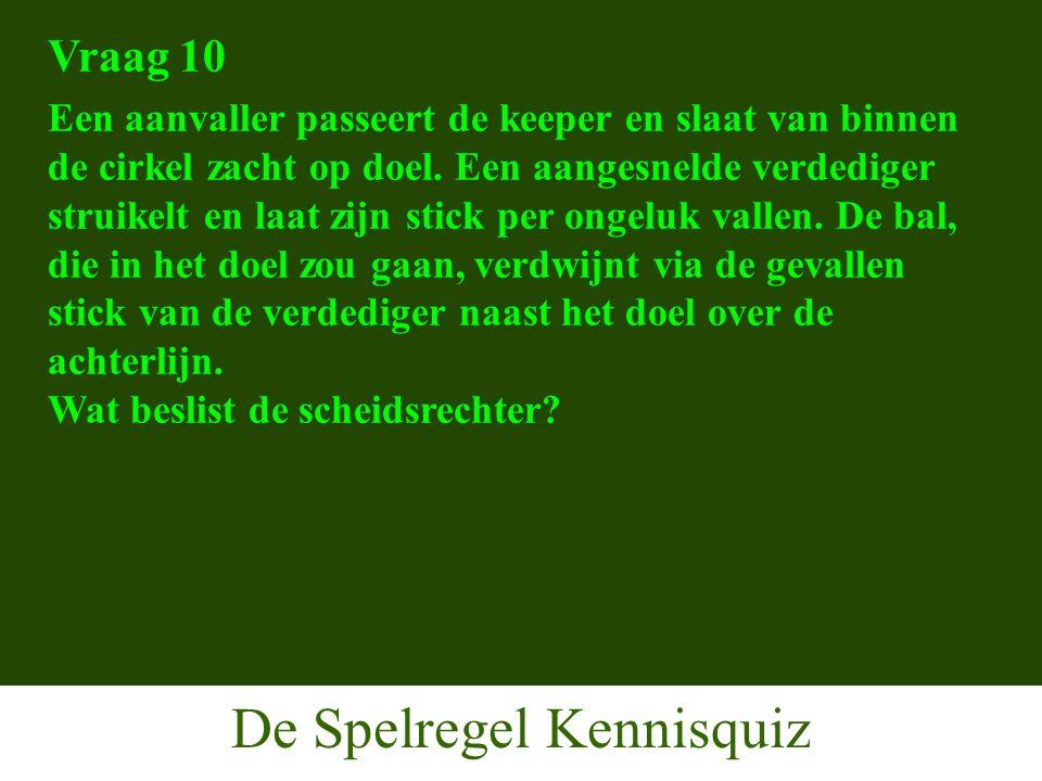De Spelregel Kennisquiz Vraag 10 Een aanvaller passeert de keeper en slaat van binnen de cirkel zacht op doel.