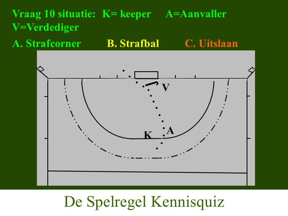 De Spelregel Kennisquiz Vraag 10 situatie: K= keeper A=Aanvaller V=Verdediger A.