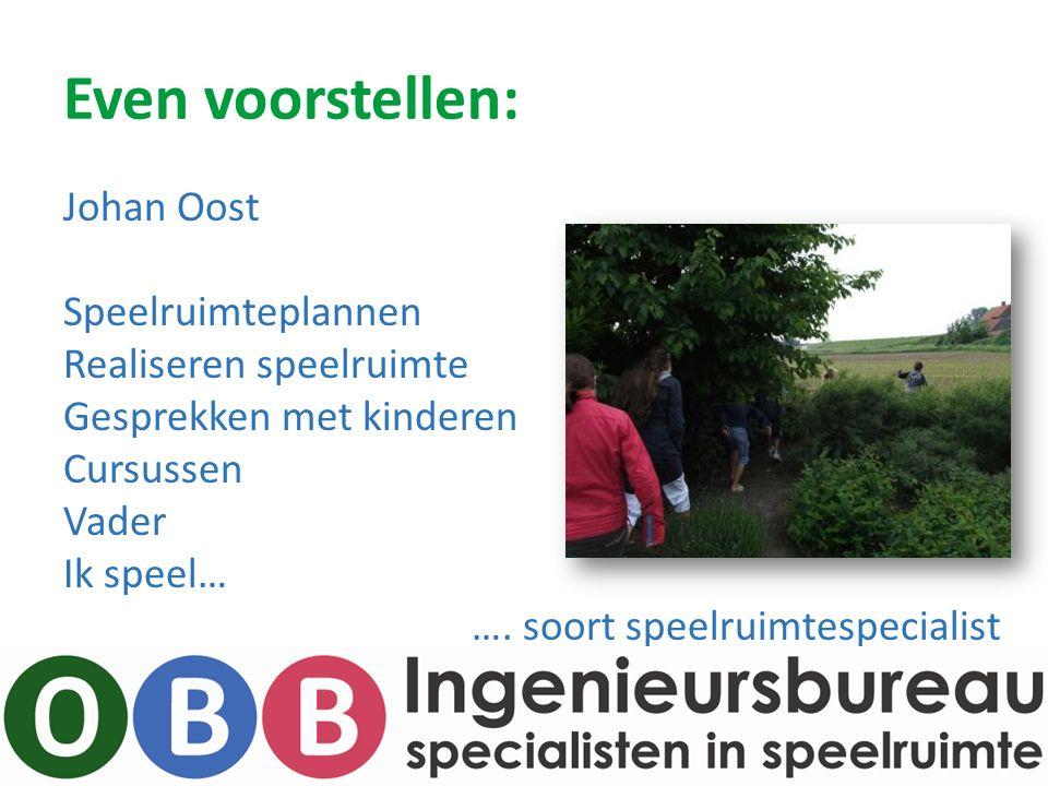 Even voorstellen: Johan Oost Speelruimteplannen Realiseren speelruimte Gesprekken met kinderen Cursussen Vader Ik speel… ….
