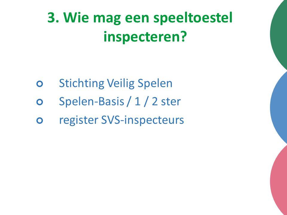 3. Wie mag een speeltoestel inspecteren? Stichting Veilig Spelen Spelen-Basis / 1 / 2 ster register SVS-inspecteurs