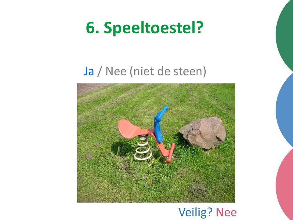 6. Speeltoestel Ja / Nee (niet de steen) Veilig Nee