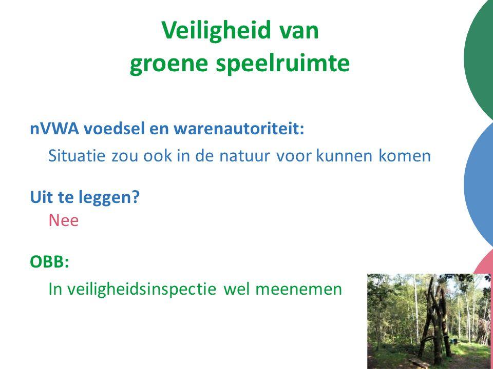 Veiligheid van groene speelruimte nVWA voedsel en warenautoriteit: Situatie zou ook in de natuur voor kunnen komen Uit te leggen? Nee OBB: In veilighe