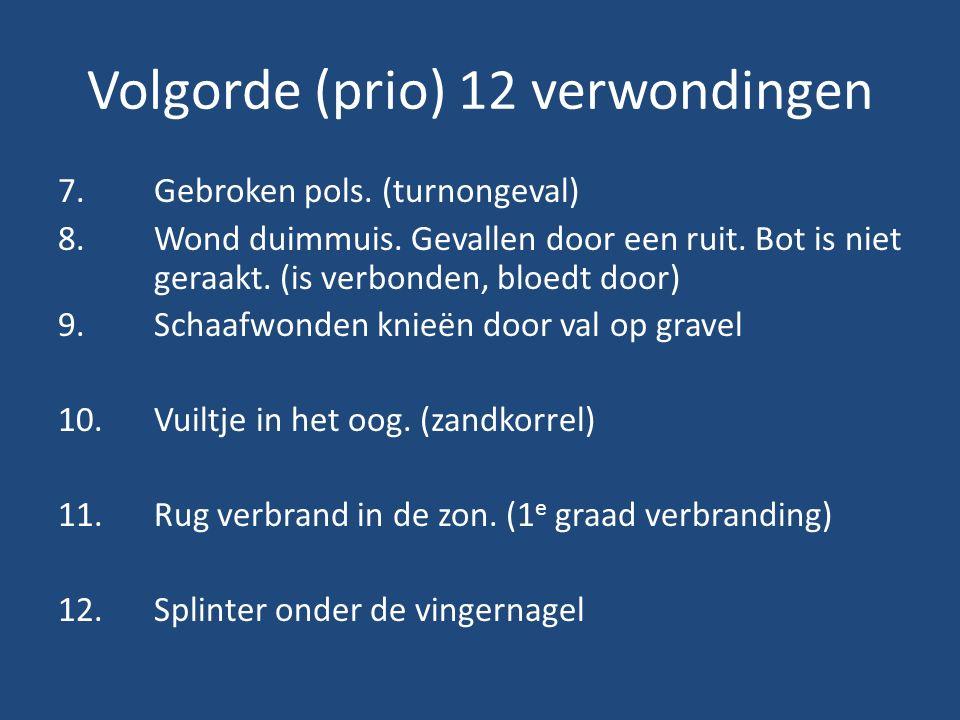 Volgorde (prio) 12 verwondingen 7.Gebroken pols. (turnongeval) 8.Wond duimmuis.