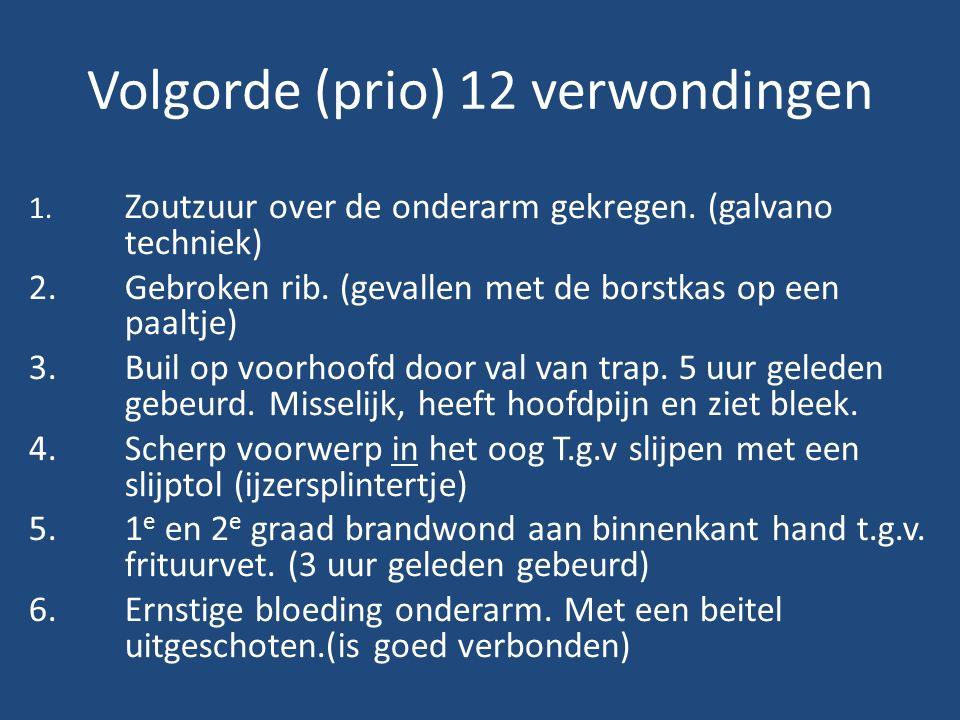 Volgorde (prio) 12 verwondingen 1. Zoutzuur over de onderarm gekregen.
