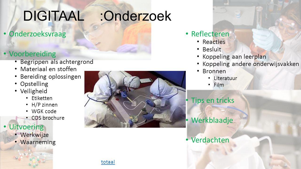 DIGITAAL :Onderzoek Onderzoeksvraag Voorbereiding Begrippen als achtergrond Materiaal en stoffen Bereiding oplossingen Opstelling Veiligheid Etiketten