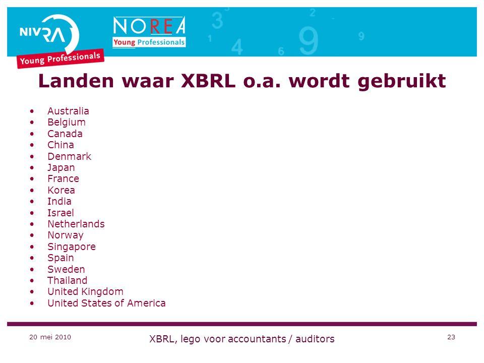 20 mei 2010 XBRL, lego voor accountants / auditors 23 Landen waar XBRL o.a.