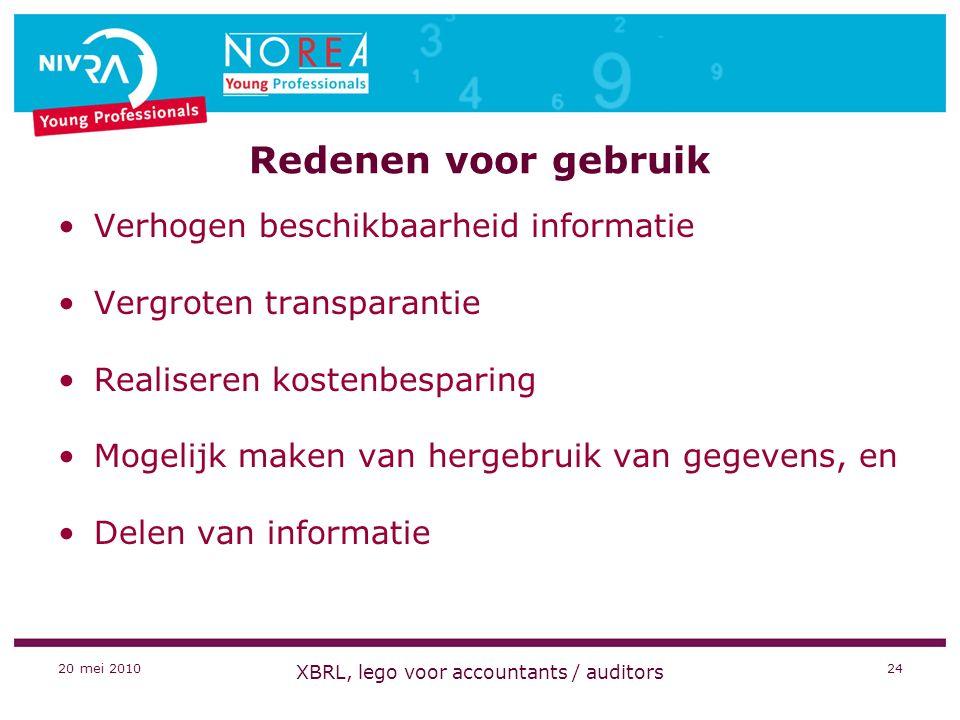 20 mei 2010 XBRL, lego voor accountants / auditors 24 Redenen voor gebruik Verhogen beschikbaarheid informatie Vergroten transparantie Realiseren kostenbesparing Mogelijk maken van hergebruik van gegevens, en Delen van informatie