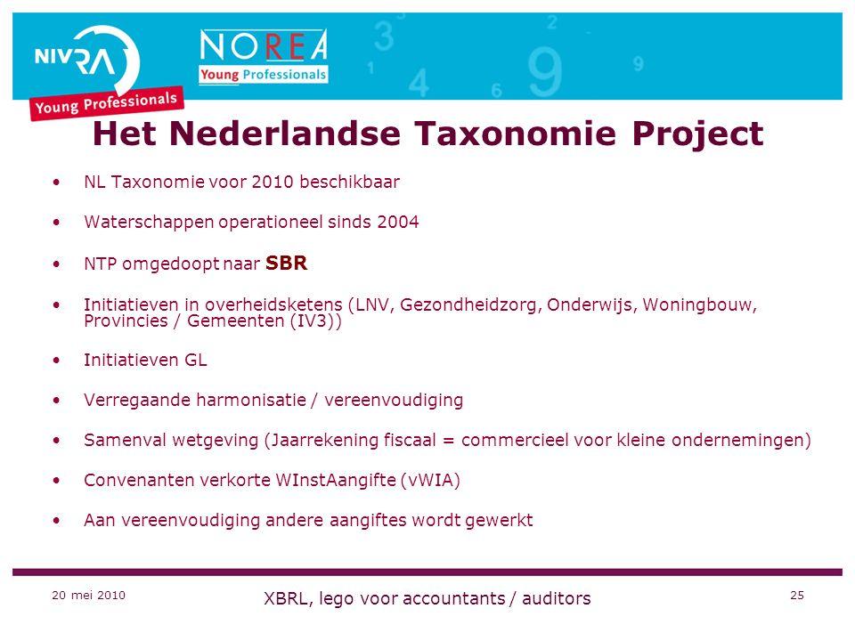 20 mei 2010 XBRL, lego voor accountants / auditors 25 Het Nederlandse Taxonomie Project NL Taxonomie voor 2010 beschikbaar Waterschappen operationeel sinds 2004 NTP omgedoopt naar SBR Initiatieven in overheidsketens (LNV, Gezondheidzorg, Onderwijs, Woningbouw, Provincies / Gemeenten (IV3)) Initiatieven GL Verregaande harmonisatie / vereenvoudiging Samenval wetgeving (Jaarrekening fiscaal = commercieel voor kleine ondernemingen) Convenanten verkorte WInstAangifte (vWIA) Aan vereenvoudiging andere aangiftes wordt gewerkt