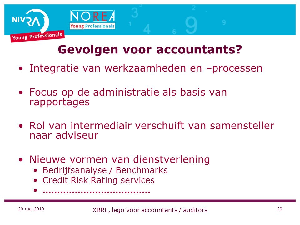 20 mei 2010 XBRL, lego voor accountants / auditors 29 Gevolgen voor accountants.