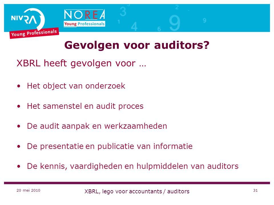 20 mei 2010 XBRL, lego voor accountants / auditors 31 Gevolgen voor auditors.