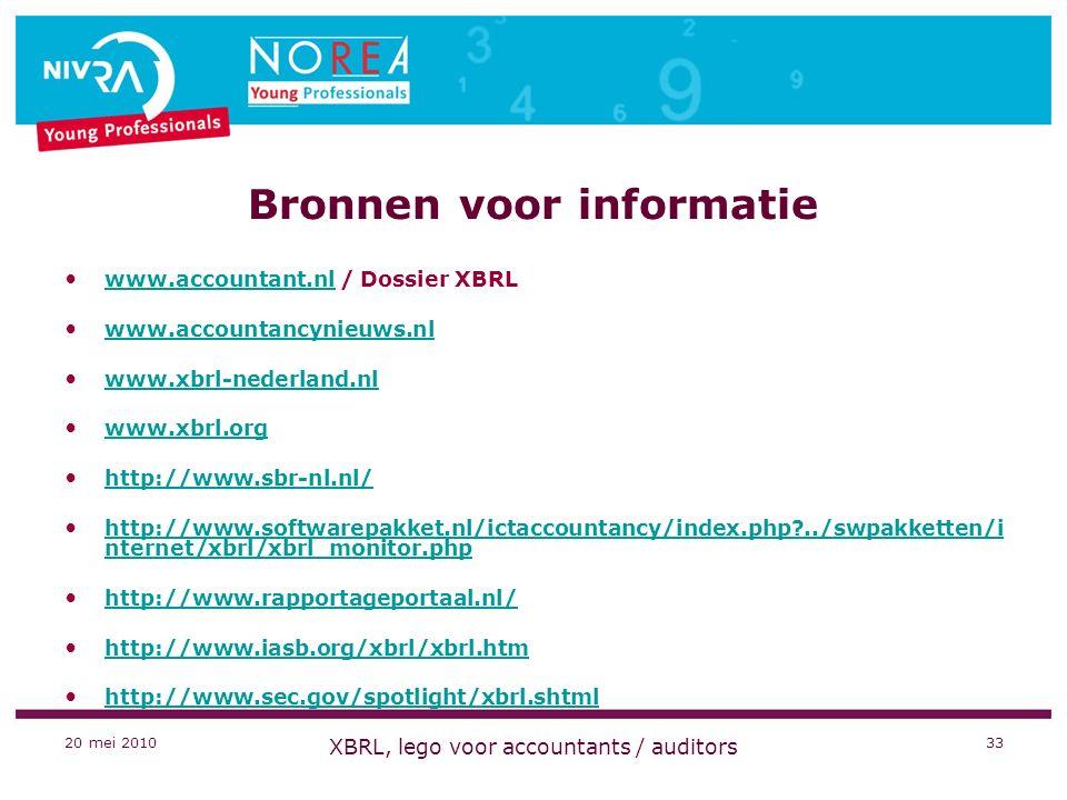 20 mei 2010 XBRL, lego voor accountants / auditors 33 Bronnen voor informatie www.accountant.nl / Dossier XBRL www.accountant.nl www.accountancynieuws.nl www.xbrl-nederland.nl www.xbrl.org http://www.sbr-nl.nl/ http://www.softwarepakket.nl/ictaccountancy/index.php?../swpakketten/i nternet/xbrl/xbrl_monitor.php http://www.softwarepakket.nl/ictaccountancy/index.php?../swpakketten/i nternet/xbrl/xbrl_monitor.php http://www.rapportageportaal.nl/ http://www.iasb.org/xbrl/xbrl.htm http://www.sec.gov/spotlight/xbrl.shtml