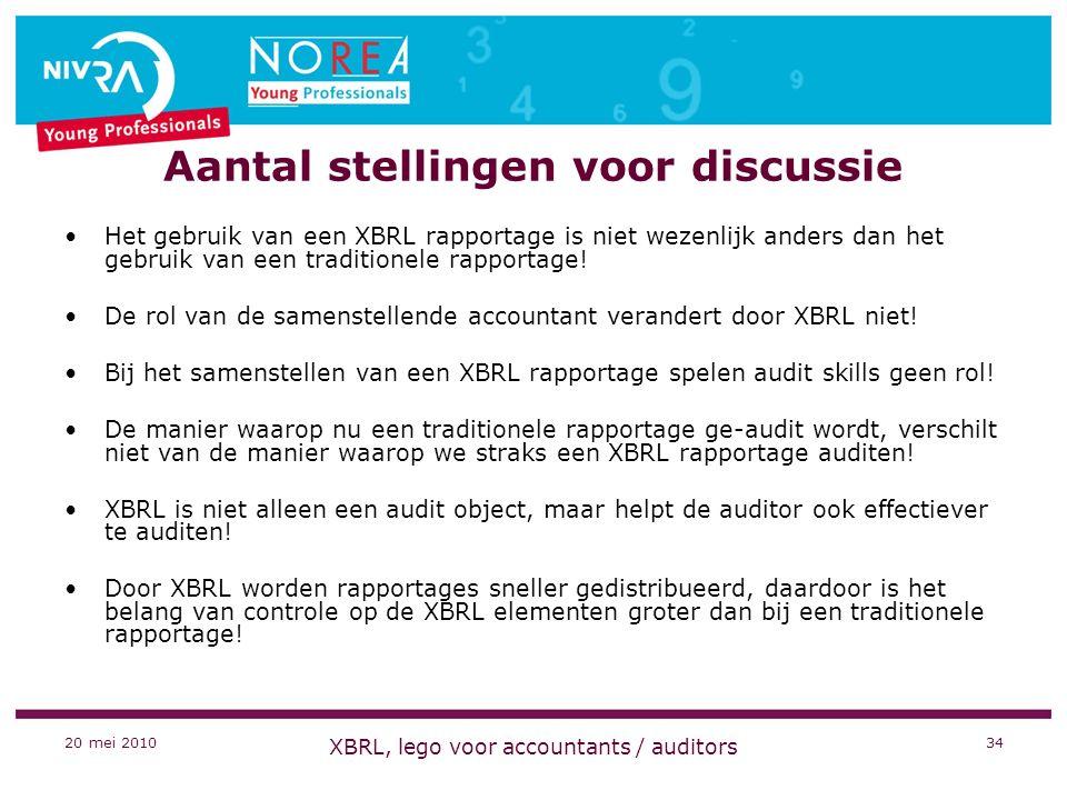 20 mei 2010 XBRL, lego voor accountants / auditors 34 Aantal stellingen voor discussie Het gebruik van een XBRL rapportage is niet wezenlijk anders dan het gebruik van een traditionele rapportage.