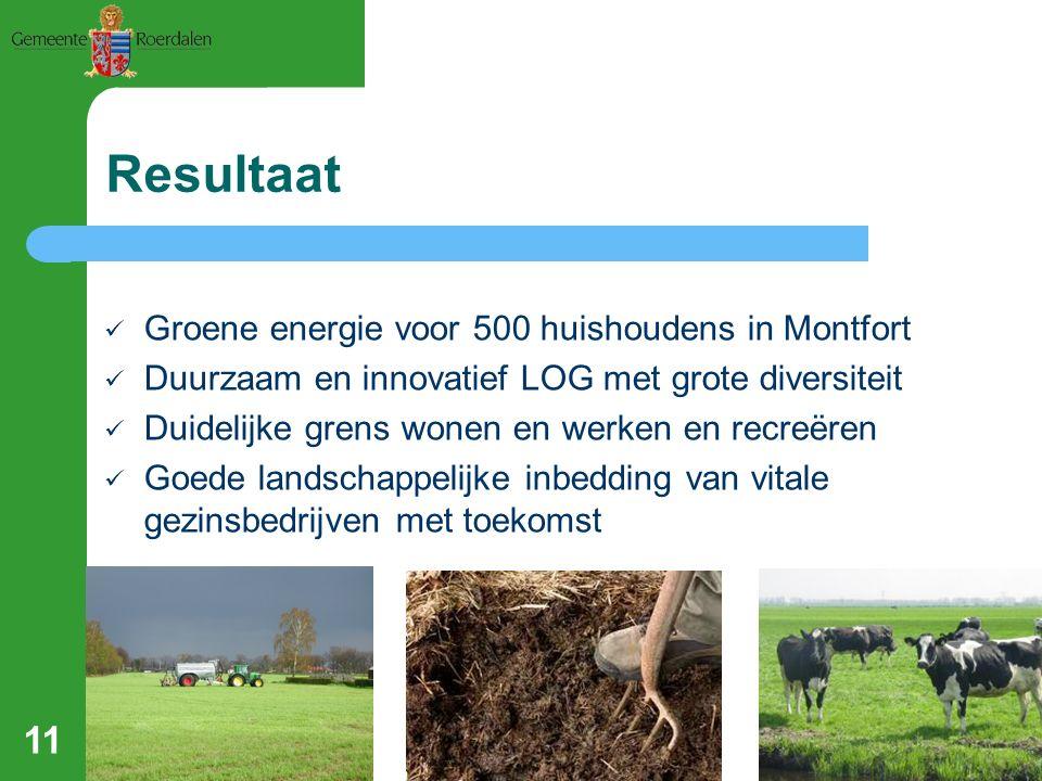 11 Resultaat Groene energie voor 500 huishoudens in Montfort Duurzaam en innovatief LOG met grote diversiteit Duidelijke grens wonen en werken en recreëren Goede landschappelijke inbedding van vitale gezinsbedrijven met toekomst