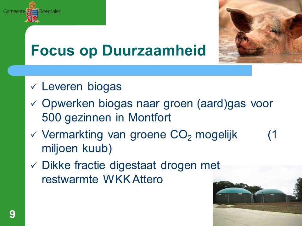 Focus op Duurzaamheid Leveren biogas Opwerken biogas naar groen (aard)gas voor 500 gezinnen in Montfort Vermarkting van groene CO 2 mogelijk (1 miljoe