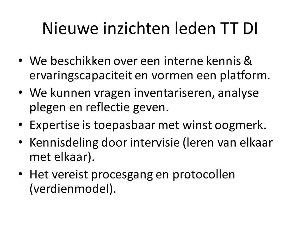 Nieuwe inzichten leden TT DI We beschikken over een interne kennis & ervaringscapaciteit en vormen een platform.