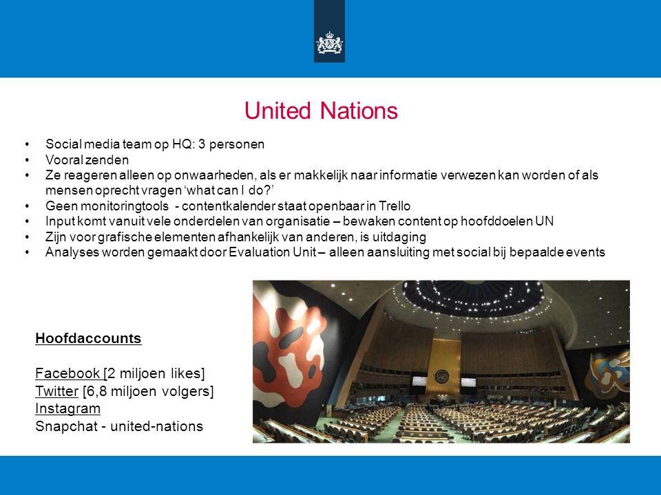 United Nations Social media team op HQ: 3 personen Vooral zenden Ze reageren alleen op onwaarheden, als er makkelijk naar informatie verwezen kan word