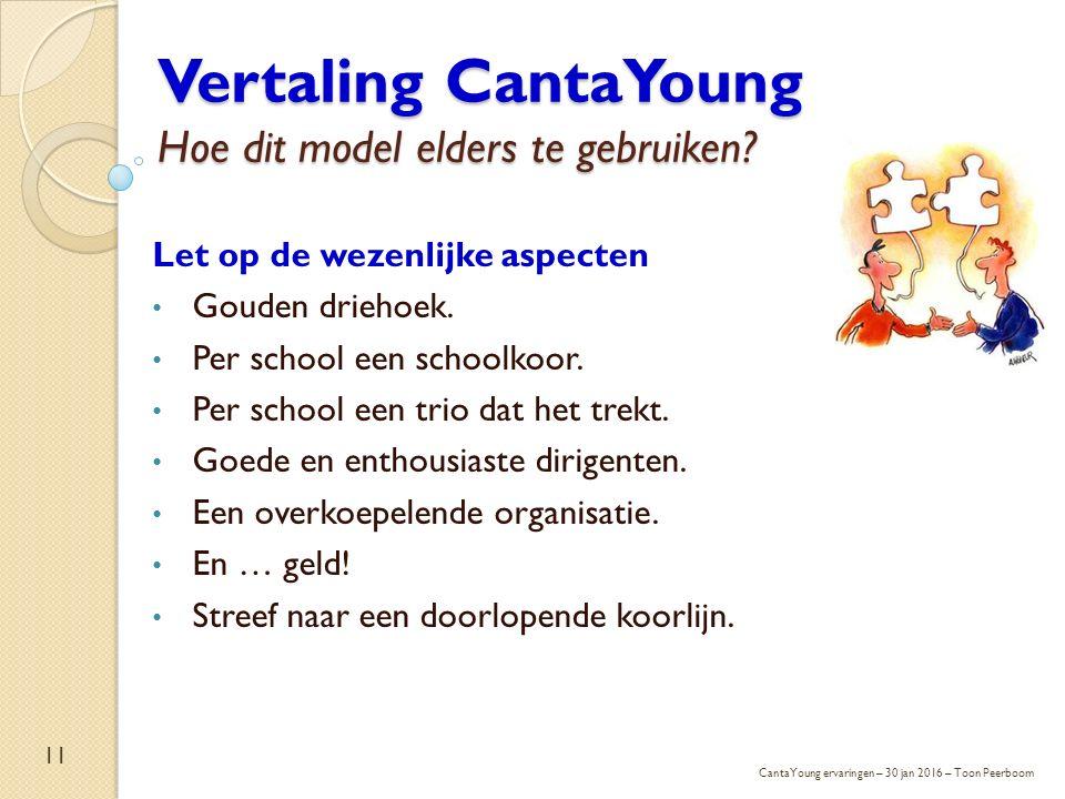 Vertaling CantaYoung Hoe dit model elders te gebruiken? Let op de wezenlijke aspecten Gouden driehoek. Per school een schoolkoor. Per school een trio