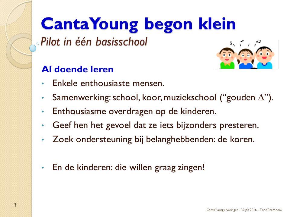 """CantaYoung begon klein Pilot in één basisschool Al doende leren Enkele enthousiaste mensen. Samenwerking: school, koor, muziekschool (""""gouden ∆""""). Ent"""
