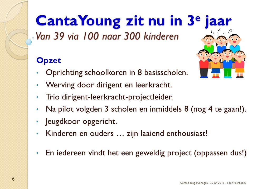 CantaYoung zit nu in 3 e jaar Van 39 via 100 naar 300 kinderen Opzet Oprichting schoolkoren in 8 basisscholen. Werving door dirigent en leerkracht. Tr