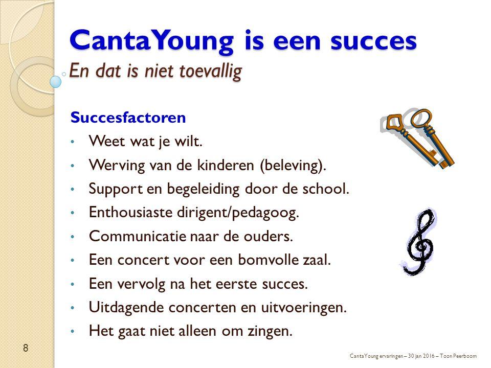 CantaYoung is een succes En dat is niet toevallig Succesfactoren Weet wat je wilt. Werving van de kinderen (beleving). Support en begeleiding door de