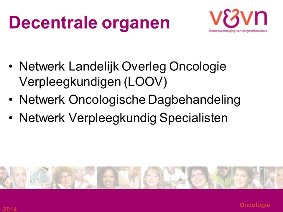 Decentrale organen Netwerk Landelijk Overleg Oncologie Verpleegkundigen (LOOV) Netwerk Oncologische Dagbehandeling Netwerk Verpleegkundig Specialisten 2014 Oncologie