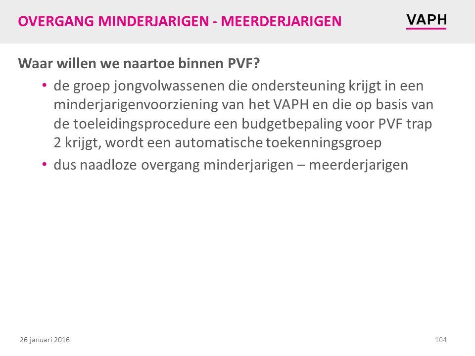 26 januari 2016 OVERGANG MINDERJARIGEN - MEERDERJARIGEN Waar willen we naartoe binnen PVF.