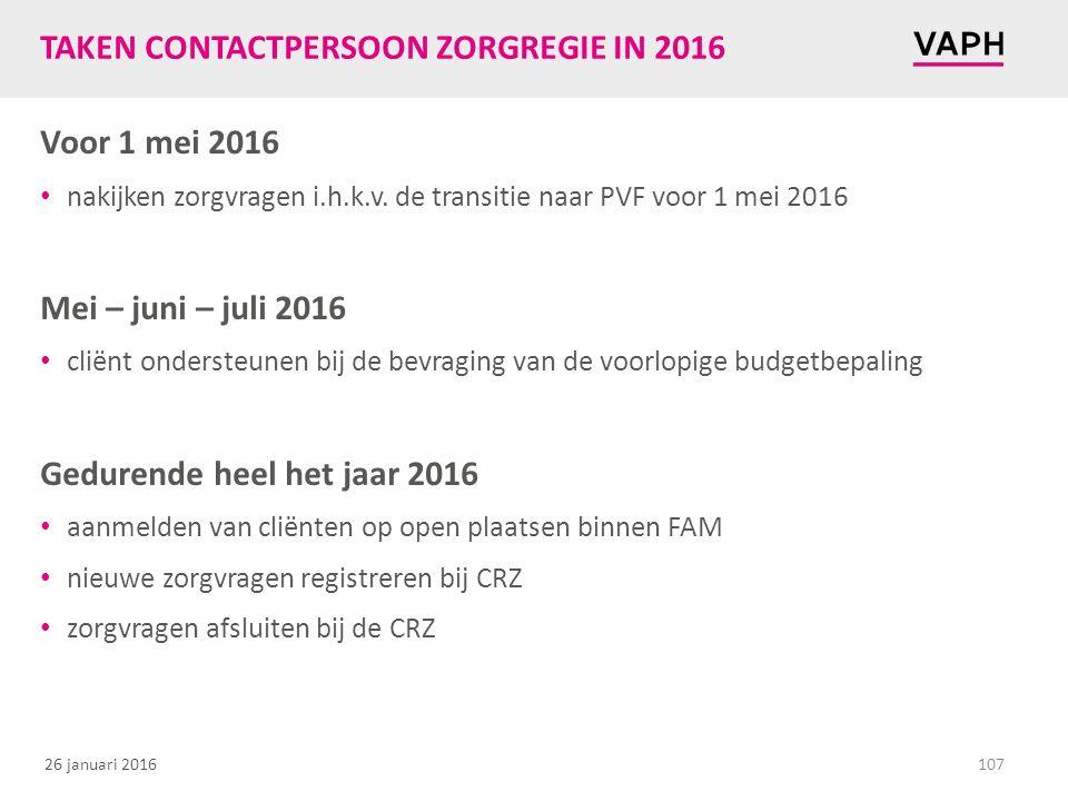 26 januari 2016 TAKEN CONTACTPERSOON ZORGREGIE IN 2016 Voor 1 mei 2016 nakijken zorgvragen i.h.k.v. de transitie naar PVF voor 1 mei 2016 Mei – juni –