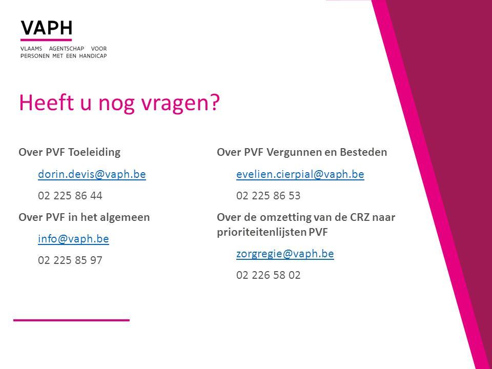 Heeft u nog vragen? Over PVF Toeleiding dorin.devis@vaph.be 02 225 86 44 Over PVF in het algemeen info@vaph.be 02 225 85 97 Over PVF Vergunnen en Best