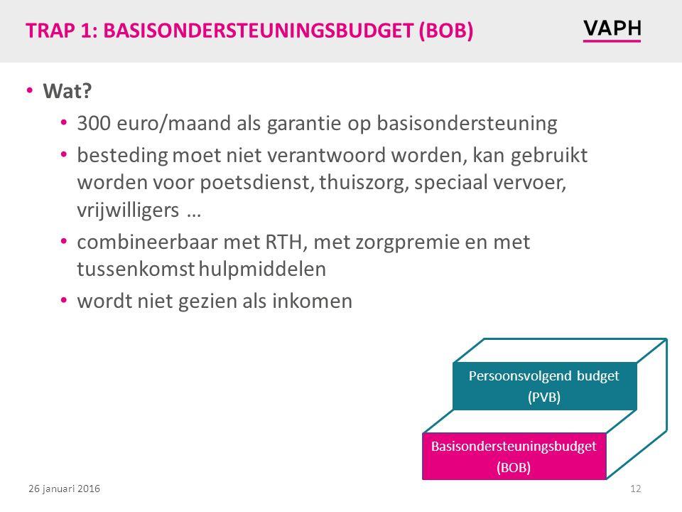26 januari 2016 TRAP 1: BASISONDERSTEUNINGSBUDGET (BOB) Wat? 300 euro/maand als garantie op basisondersteuning besteding moet niet verantwoord worden,