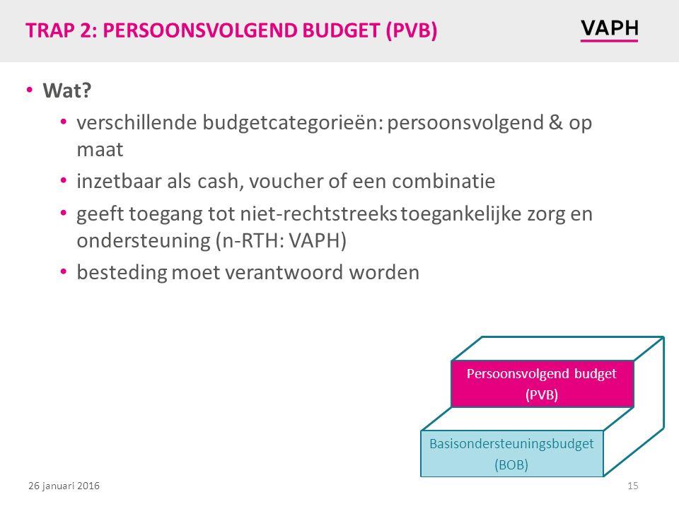 26 januari 2016 TRAP 2: PERSOONSVOLGEND BUDGET (PVB) Wat? verschillende budgetcategorieën: persoonsvolgend & op maat inzetbaar als cash, voucher of ee